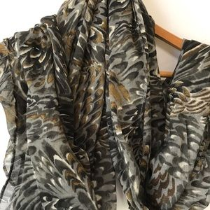 Isaac Mizrahi Live Gray and Brown Scarf